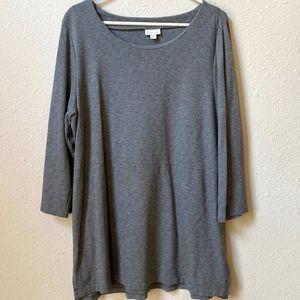 J. Jill Womens 3/4 Sleeve Gray Tunic Top